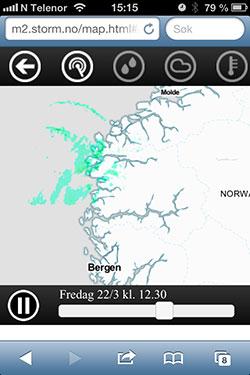 Værradaren viser deg hvor det faller nedbør nå.