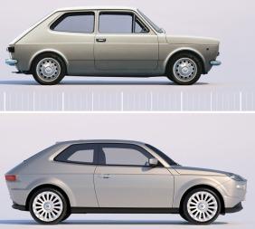 Den nye er større, men likhetene er mange selv om 44 år skiller disse to bilene.