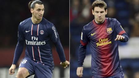 MØTTES IGJEN: Zlatan Ibrahimovic og Lionel Messi. (Foto: -/Afp)
