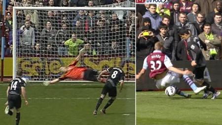 STRAFFET: Nathan Baker klippet ned Luis Suarez, og pådro seg straffe. Steven Gerrard var sikker fra ellevemeteren.