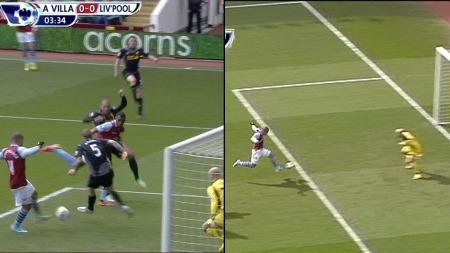 HVORDAN KUNNE DU BOMME? Det spurte Villa-fansen Gabriel Agbonlahor to ganger innledningsvis.