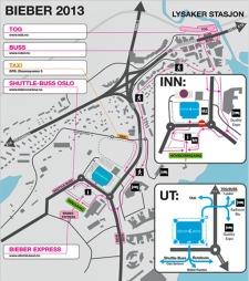 BIEBERKARTET: Her er kart over konsertområdet der Justin Bieber skal holde tre konserter i april. (Foto: Asker og Bærum politidistrikt)
