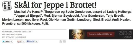 2008: Anmeldelse av «Jeppe i Brottet» gjort av Kristine Andreassen for Fredrikstad blad. (Foto: Faksimile: (Fredrikstad blad))