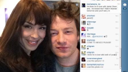 KYSSET: Maria Mena proklamerer på Instagram at hun er forelsket   i kjendiskokken Jamie Oliver. (Foto: Instagram)
