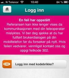 KJEDELIG: Feilmelding i mobilbanken. (Foto: TV 2)