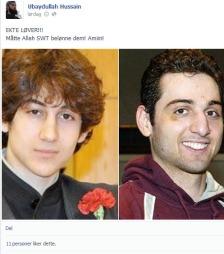 HYLLES: Brødreparet Tamerlan og Dsjokhar Tsarnajev, som stod bak bombene som tok livet av tre personer i Boston, hylles nå av den norske ekstremistgruppa Profetens Ummah. (Foto: Skjermdump/TV 2)