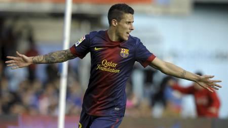 USIKKER: Cristian Tello er usikker på om han har en fotballfremtid   i Barcelona. (Foto: MIGUEL RIOPA/Afp)