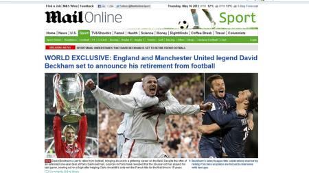 LEGGER OPP: Engelske aviser slår stort opp at Beckham legger opp. Her faksmilie fra The Daily Mail. (Foto: dailymail.co.uk/)