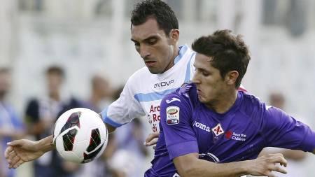 ØNSKET I JUVENTUS: Både Catanias Francesco Lodi og Fiorentinas   Stevan Jovetic står på Juventus' ønskeliste. (Foto: Fabrizio   Giovannozzi/Ap)