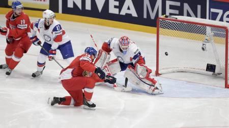 SCORET: Tsjekkia tok tidlig ledelsen mot Norge i tirsdagens skjebnekamp. (Foto: Larsen, Håkon Mosvold/NTB scanpix)