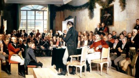 «Eidsvold 1814» ble malt av Oscar Wergeland og gitt som gave til Stortinget i 1885.