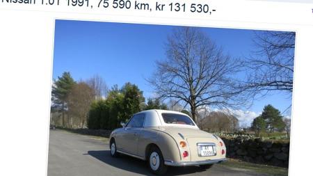 Slik ser Figaro ut bakfra. De runde baklampene kjenner vi igjen fra Datsun Fairlady (Foto: Faksimile fra finn.no)