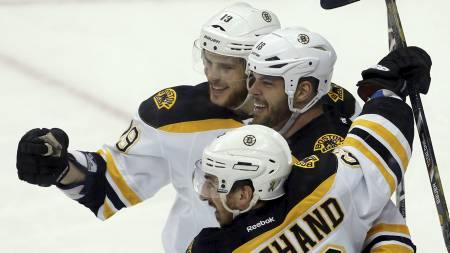 Boston Bruins, Nathan Horton, Tyler Seguin og Brad Marchand. (Foto: JASON COHN/Reuters)
