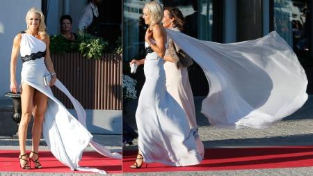 Celina Midelfart fikk mye oppmerksomhet for kjolen hun hadde valgt fredag kveld.  (Foto:  Lise Åserud / NTB scanpix)