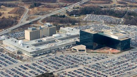 «NO SUCH AGENCY»: Det tok flere tiår før eksistensen av National   Security Agency ble kjent. Dette er et oversiktsbilde av hovedkvarteret   i Fort Meade, Maryland.