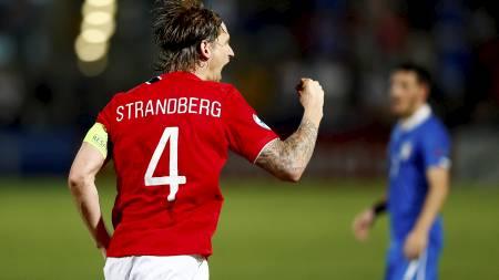 HÆRFØREREN: Kaptein Stefan Strandberg skal forsøke å lede Norge til finale i U21-EM. (Foto: Aas, Erlend/NTB scanpix)