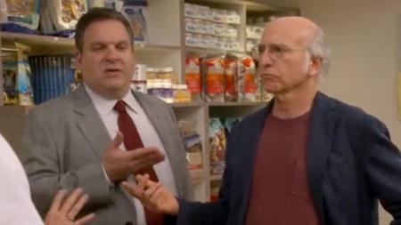 Jeff Garlin og Larry David sammen i en scene fra «Curb Your   Enthusiasm» (Foto: IMDB)