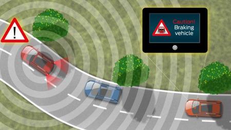 Systemet skal fange opp også biler som bremser opp rundt en sving - og advare bakenforkjørende.