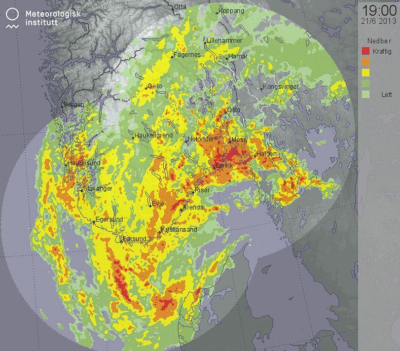 «GEIR»: Slik ser ekstremværet som treffer Østlandet ut fredag   kveld. (Foto: Meteorologisk institutt)