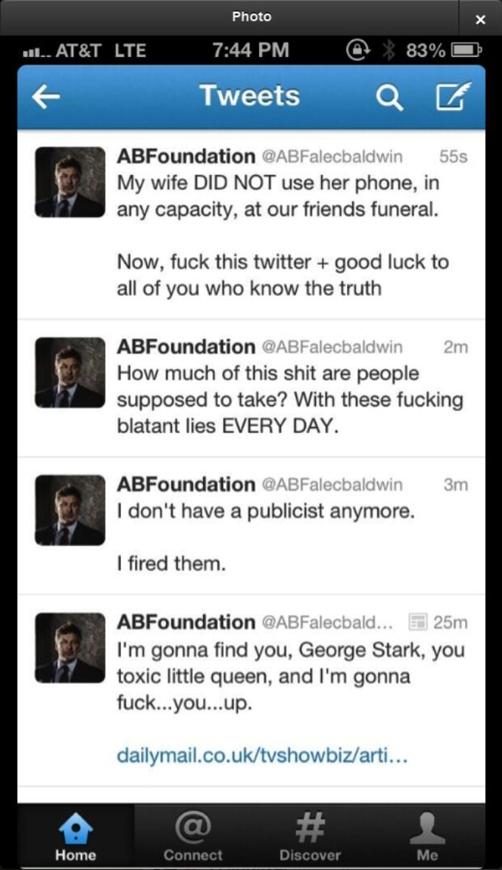Twitter-kontoen @NewsBreaker tok et skjermbilde av Baldwins Twitter-konto før den forsvant.