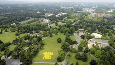 Flowers are set up in a park to form the new home jersey of German first division Bundesliga club Borussia Dortmund on July 5, 2013 in Dortmund, western Germany. In background can be seen the club's stadium, the Signal Iduna Park stadium. (Foto: CAROLINE SEIDEL/Afp)
