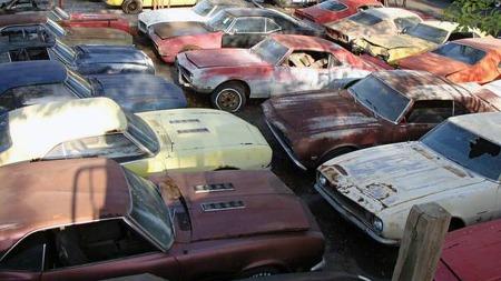 Sjelden har vi sett så mange førstegenerasjons Chevrolet Camaro   på ett brett. Hvorvidt alle er mulige å redde vites ikke, men det kommer   minst like mye an på utgave som tilstand - de mest sjeldne er gull verdt.   (Foto: Craigslist.com)