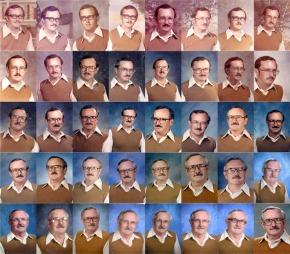 SPØKEFUGL: Dale Irby tok konas utfordring på alvor og stilte opp i de samme klærne til skolens årbok - 40 år på rad! Her kan du se alle bildene. (Foto: Dallas Morning News / SWNS.com, ©SWNS - NTI - MASONS - HEMEDIA -)