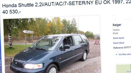 Dette er i skrivende stund det eneste eksemplaret av Honda Shuttle til salgs i Norge. Faksmilie fra finn.no.
