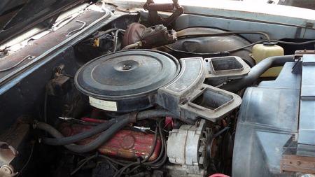 GS 350 har som navnet antyder en 350 kubikktommers smallblock-motor.   GS kunne også fås med 455 kubikktommers big block i 1970 - da spørs det   om den hadde fått stå bortgjemt så lenge... (Foto: eBay.com)
