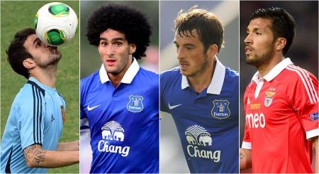 UNITED-AKTUELLE: Det kan være en av disse fire Manchester United   går for. Cesc Fabregas, Marouane Fellaini, Leighton Baines og Ezequiel   Garay er alle koblet til klubben.