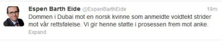 STØTTE: Marte Deborah Dalelv (24) får støtte av utenriksministeren.  (Foto: Skjermbilde/Twitter)
