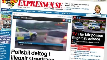 Expressen har video som viser politibilen i aksjon i det ulovlige gateracet. Nå blir det full etterforskning av saken.