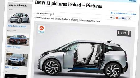 Alt før den offisielle lanseringen på verdensbasis, har det lekket ut bilder av nye BMW i3. Faksimilet er fra Autoexpress.