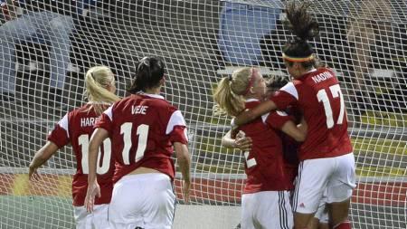 TIL FINALEN: Danmark er klar for EM-finalen. (Foto: JONATHAN NACKSTRAND/Afp)
