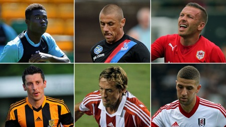FÅR EN TØFF SESONG: Alexander Tettey (Norwich), Kevin Phillips (Crystal Palace), Craig Bellamy (Cardiff), Robert Koren (Hull), Peter Crouch (Stoke) og Adel Taarabt (Fulham) får alle en tøff sesong i Premier League. (Foto: Scanpix/Photoshop (montasje))