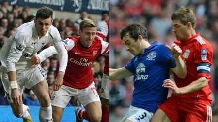 KJEMPER OM MESTERLIGA: Gareth Bale, Nacho Monreal, Leighton Baines og Steven Gerrard vil alle kjempe om en plass i Mesterligaen sesongen 2013/14. (Foto: Scanpix/Photoshop (montasje))
