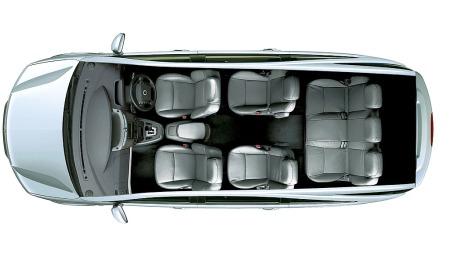 SsangYong går for en sete-konfigurasjon på 2+2+3 på nye Turismo, i tillegg er det rikelig bagasjeplass.
