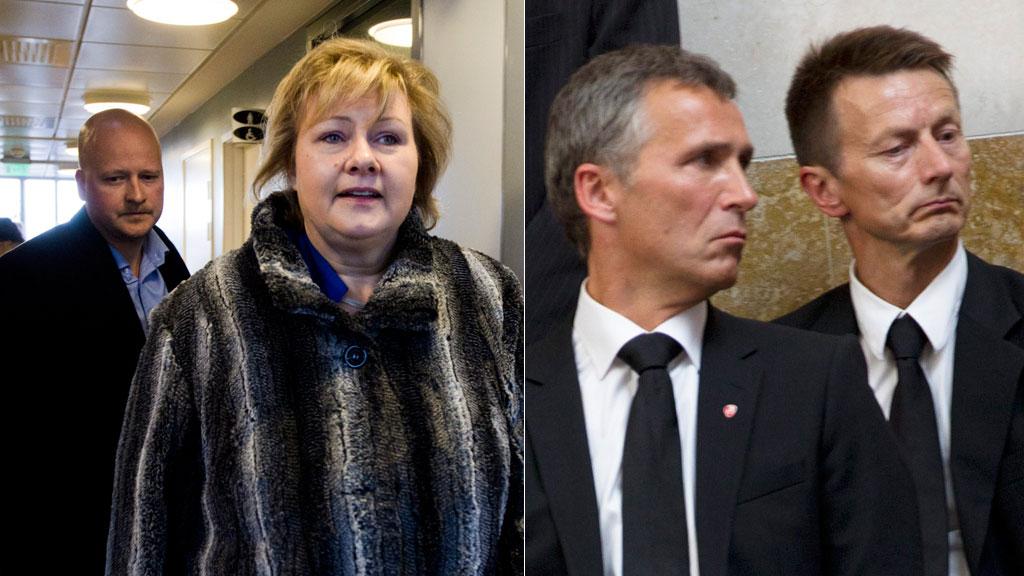 SPINDOCTORS: Partiledernes viktigste rådgivere er aldri langt unna. Sigbjørn Aanes holder styr på Erna Solberg. Hans Kristian Amundsen bistår Jens Stoltenberg. (Foto: Roald / Holm, NTB SCANPIX)