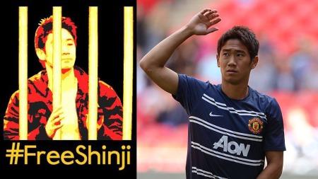 FENGSLET: Borussia Dortmund-fansen mener Shinji Kagawa sitter   fengslet i Manchester United. (Foto: Montasje Twitter/Scanpix)