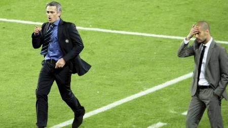 KUNNE JUBLE i 2010: José Mourinho og Inter slo ut Barcelona fra Mesterligaen i 2010. Inter vant til slutt turneringen etter 2-0-seier over Bayern München i finalen. (Foto: Manu Fernandez/Ap)