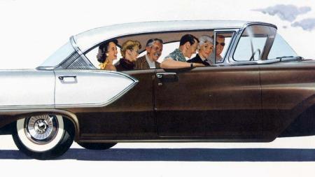 Det var stor lykke over nye biler i brosjyrene på 1950-tallet, og gleden over å eie en slik bil er ikke mindre i dag.