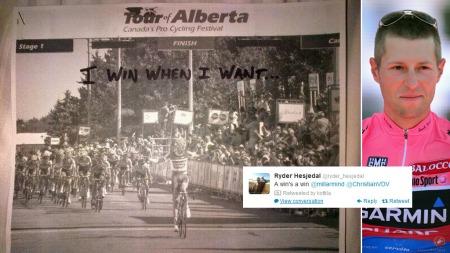 TWITTER-HUMOR: Stjernesyklistene «mobbet» Ryder Hesjedal etter   onsdagens etappe. Og canadieren svarte! (Foto: Scanpix/Twitter @millarmind   @ryder_hesjedal (Montasje))