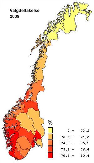 I 2009 var valgdeltakelsen størst på Vestlandet og det sentrale Østlandet, og minst i Troms og Finnmark. (Foto: SSB)