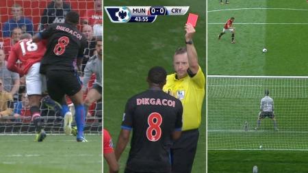 STRAFFE OG RØDT: Ashley Young gikk i bakken, Kagisho Digkacoi fikk rødt og Robin van Persie scoret iskaldt. (Foto: TV 2)
