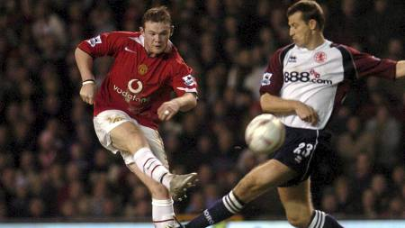 SENKET BORO: Rooney kåret volley-skuddet mot Middlesbrough i 2005 som sin tredje beste scoring noensinne for Manchester United. (Foto: PAUL BARKER/AFP)