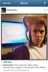 I KOSTYME: Bård Ylvisåker la ut dette bilde på sin Instagram-konto i forbindelse med besøket hos Ellen DeGeneres.  (Foto: Skjermdump Instagram )