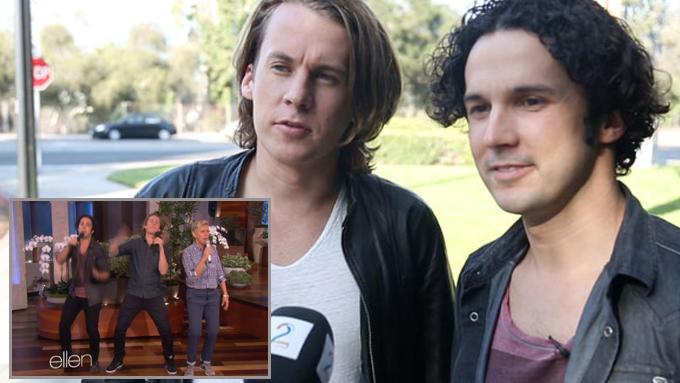 USA-BESØK: Vegard og Bård Ylvisåker møtte norsk presse etter at de hadde vært gjester på «The Ellen Degeneres Show».