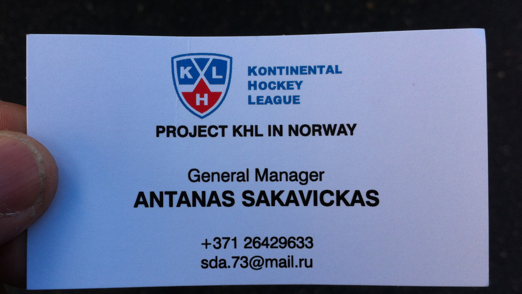 Her er visittkortet til KHL-representanten Antanas Sakavickas