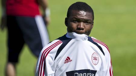 LANDSLAGSSPILLER: Jores Okore var med i den danske troppen under   EM. (Foto: CLAUS BECH/Afp)
