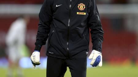 TIDLIGERE KEEPER-TRENER: Eric Steele jobbet med David De Gea på Manchester Uniteds treningsfelt. (Foto: Mike Egerton/Pa Photos)